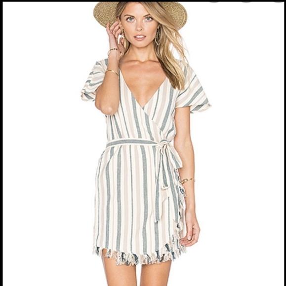 Tularosa Dresses & Skirts - Tularosa Striped Mini Wrap Dress